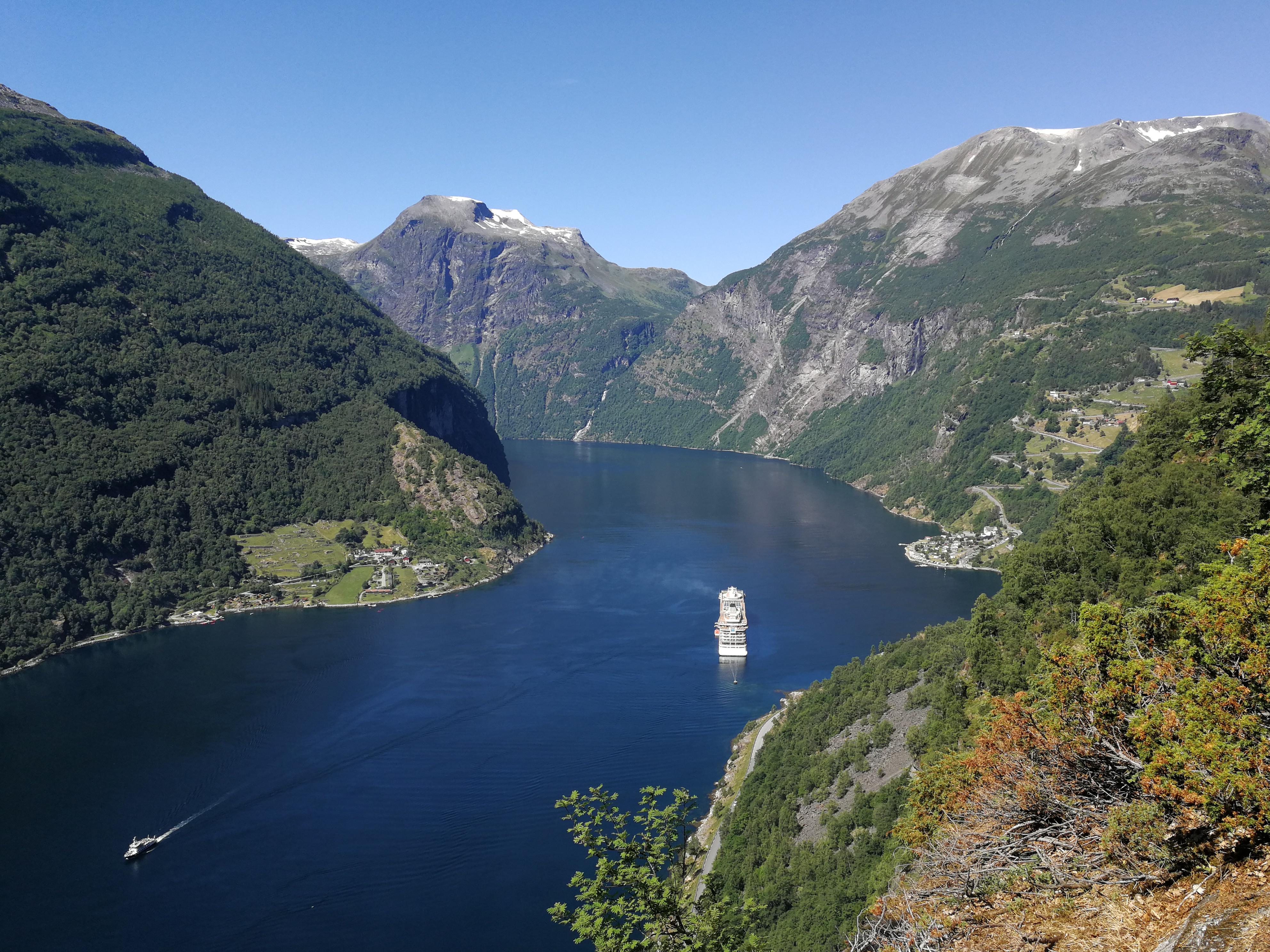 Aussicht Geiranger Fjord vom Vesteråsfjellet